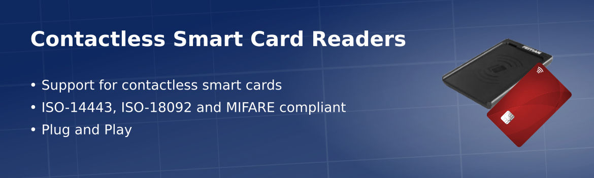 Contactless smart cards readers support contactless, NFC and MIFARE smart cards for secure applications.